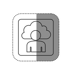 figure cloud person technology icon vector image vector image