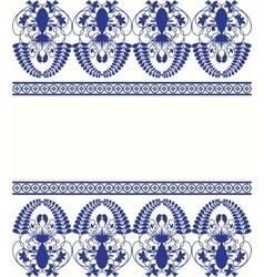 Gzhel style border pattern Blue porcelain russian vector image vector image