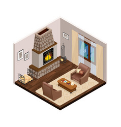 lounge isometric interior with fireplace vector image vector image