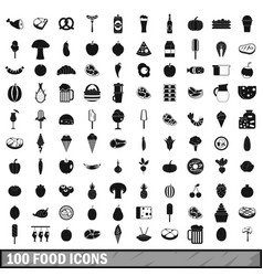 100 food icons set in simple style vector