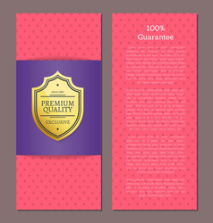 100 guarantee award golden premium quality label vector image