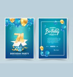 74th years birthday invitation double card vector