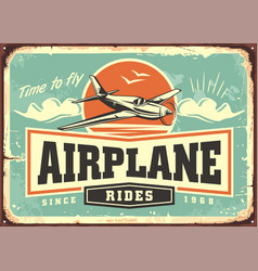 Airplane rides and tours retro advertising sign vector