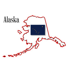 Alaska state map and flag vector
