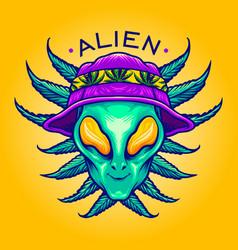 Alien summer weed cannabis mascot vector