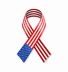 american flag stripe ribbon on white background vector image