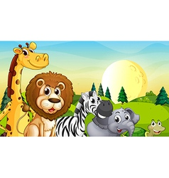Animals at the hilltop with pine trees vector image