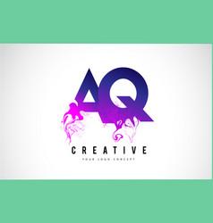 Aq a q purple letter logo design with liquid vector