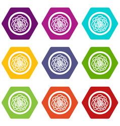 Asian noodles icon set color hexahedron vector