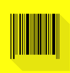 bar code sign black icon with flat style shadow vector image