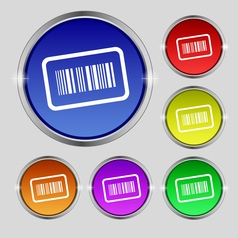 Barcode icon sign Round symbol on bright colourful vector