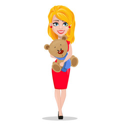 Beautiful woman in red dress holding teddy bear vector
