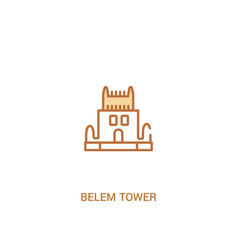 Belem tower concept 2 colored icon simple line vector