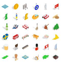 Big world icons set isometric style vector