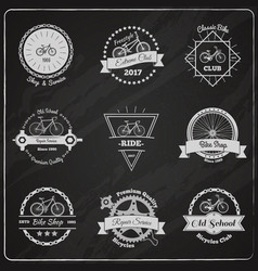 bike chalkboard emblems set vector image