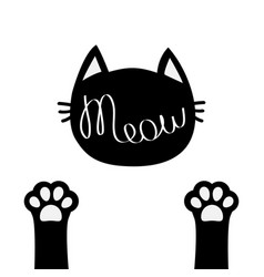 black cat head meow lettering contour text two vector image