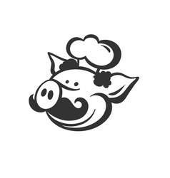 black pig with moustache and cook hat vector image