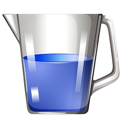 Blue substance in glass beaker vector