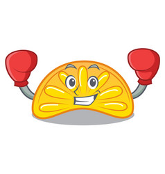 Boxing orange jelly candy character cartoon vector