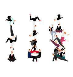 business human pyramid team work success concept vector image