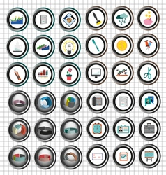 Business icons set flat style over white backgroun vector image