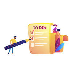 businessman filling to do list with pencil and vector image