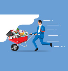 businessman moving to new office vector image