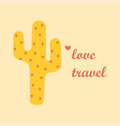 card with cute cactus vector image