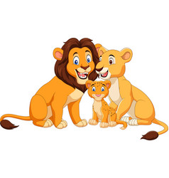 Cartoon lion family isolated on white background vector