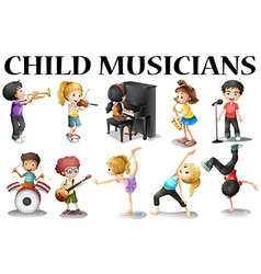 Children playing different musical instruments vector