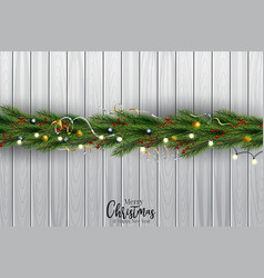 christmas tree branch decorated with gold bubbles vector image