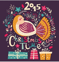 christmas with festive bird and gift boxes vector image