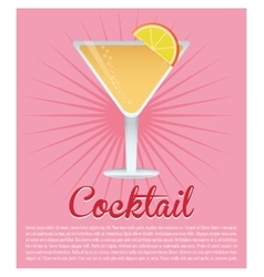 Cocktail cosmopolitan drink pink background vector