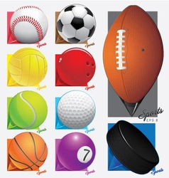 Colorful sport balls Map pointer eps 8 vector image