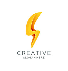 creative flash bolt logo template vector image