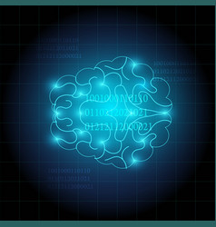 creative of human brain technology background vector image
