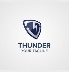 creative thunder shield logo concept design vector image