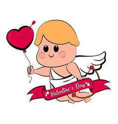 cute cupid boy with a heart shape balloon vector image