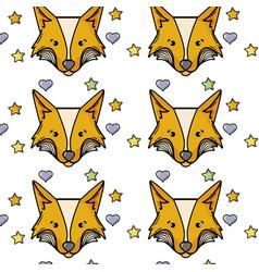 Cute fox head animal with stars ans hearts vector