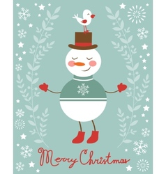 Cute snowman and bird vector image