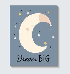 cute sticker sleeping moon with dream big vector image