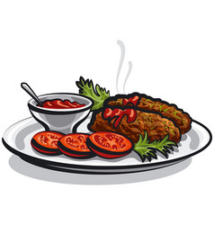 Cutlets with sauce vector