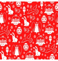 easter angel pattern red vector image