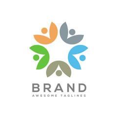 eco environment green leaf nature community logo vector image