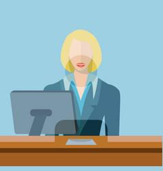 Female bank teller clerk vector