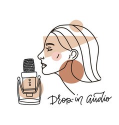 female face in profile speaking in mic trendy vector image