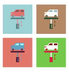 Flat icon design collection car on the lift vector