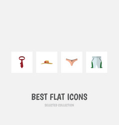 Flat icon garment set of lingerie cravat trunks vector