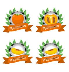 For ripe fruit orange persimmon vector