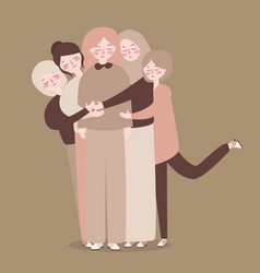 Friends group young people bonding hug casual vector